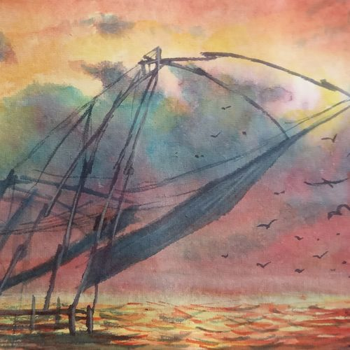 fishing nets of kerala, 10 x 6 inch, ajay anand,10x6inch,handmade paper,paintings,landscape paintings,conceptual paintings,nature paintings | scenery paintings,impressionist paintings,paintings for dining room,paintings for living room,paintings for bedroom,paintings for office,paintings for bathroom,paintings for kids room,paintings for hotel,paintings for school,watercolor,GAL01783939435
