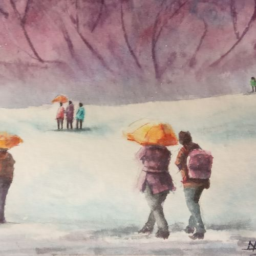 snowfall in shimla , 10 x 6 inch, ajay anand,10x6inch,handmade paper,paintings,landscape paintings,nature paintings | scenery paintings,impressionist paintings,paintings for dining room,paintings for living room,paintings for bedroom,paintings for office,paintings for bathroom,paintings for hotel,watercolor,GAL01783939436