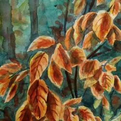 autumn leaves in cluster, 6 x 10 inch, ajay anand,6x10inch,cartridge paper,paintings,conceptual paintings,still life paintings,nature paintings | scenery paintings,paintings for dining room,paintings for living room,paintings for bedroom,paintings for office,paintings for bathroom,paintings for kids room,paintings for hotel,paintings for kitchen,watercolor,GAL01783939437