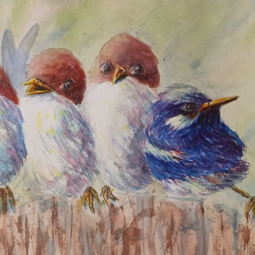 friends of a feather , 10 x 6 inch, ajay anand,10x6inch,cartridge paper,paintings,wildlife paintings,nature paintings   scenery paintings,impressionist paintings,animal paintings,paintings for dining room,paintings for living room,paintings for bedroom,paintings for office,paintings for bathroom,paintings for kids room,paintings for hotel,paintings for school,paintings for hospital,watercolor,GAL01783939438