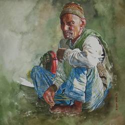 old man, 13 x 17 inch, uday bhan  singh,figurative paintings,paintings for living room,fabriano sheet,watercolor,13x17inch,GAL014333944