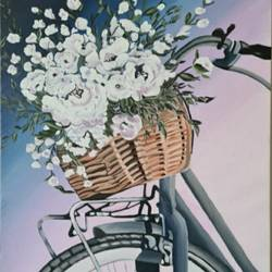 bicycle with flower basket , 18 x 24 inch, saniya mohite,18x24inch,canvas,paintings,abstract paintings,flower paintings,modern art paintings,paintings for dining room,paintings for living room,paintings for bedroom,paintings for office,paintings for hotel,acrylic color,GAL02777939444