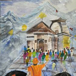recreation of kedarnath temple painting, 15 x 11 inch, pinki saha,15x11inch,drawing paper,paintings,religious paintings,acrylic color,paper,GAL02786539446