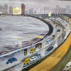 marine drive mumbai, 15 x 11 inch, pinki saha,15x11inch,drawing paper,paintings,cityscape paintings,paintings for living room,paintings for office,paintings for hotel,acrylic color,paper,GAL02786539447