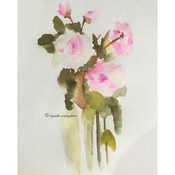 roses, 8 x 12 inch, ityesha mehta,8x12inch,thick paper,paintings,flower paintings,art deco paintings,realism paintings,paintings for dining room,paintings for bedroom,paintings for office,paintings for bathroom,paintings for kids room,paintings for hotel,paintings for kitchen,paintings for school,paintings for hospital,watercolor,paper,GAL02789039448