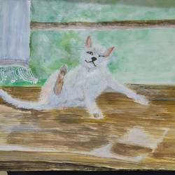 cat near the window, 17 x 12 inch, pinki saha,17x12inch,drawing paper,paintings,animal paintings,acrylic color,paper,GAL02786539449
