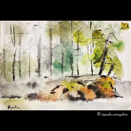 nature landscape , 8 x 12 inch, ityesha mehta,8x12inch,canson paper,paintings,landscape paintings,nature paintings | scenery paintings,art deco paintings,photorealism paintings,realism paintings,contemporary paintings,paintings for dining room,paintings for living room,paintings for bedroom,paintings for office,paintings for bathroom,paintings for kids room,paintings for hotel,paintings for kitchen,paintings for hospital,watercolor,paper,GAL02789039453