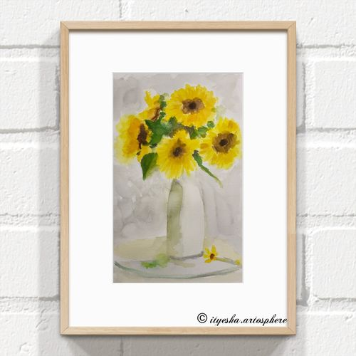 sunflowers, 8 x 12 inch, ityesha mehta,8x12inch,canson paper,paintings,flower paintings,photorealism,contemporary paintings,paintings for dining room,paintings for living room,paintings for bedroom,paintings for office,paintings for bathroom,paintings for kids room,paintings for hotel,paintings for kitchen,paintings for school,paintings for hospital,watercolor,paper,GAL02789039454