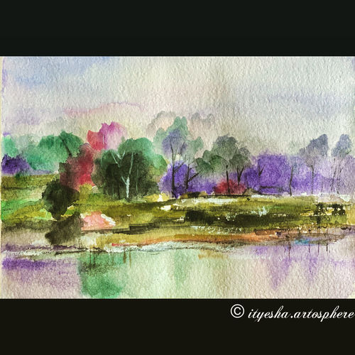 vibrant nature painting , 8 x 12 inch, ityesha mehta,8x12inch,canvas board,paintings,flower paintings,landscape paintings,modern art paintings,conceptual paintings,nature paintings | scenery paintings,photorealism paintings,paintings for dining room,paintings for living room,paintings for bedroom,paintings for office,paintings for bathroom,paintings for hotel,paintings for kitchen,paintings for school,paintings for hospital,watercolor,GAL02789039455
