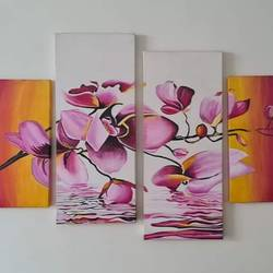 flowers with their reflection in water, 47 x 24 inch, saniya mohite,47x24inch,canvas,paintings,abstract paintings,flower paintings,modern art paintings,paintings for dining room,paintings for living room,paintings for bedroom,paintings for office,paintings for hotel,acrylic color,GAL02777939458