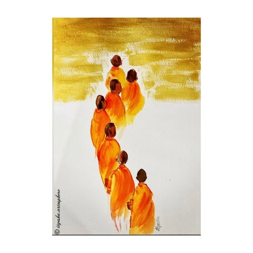 way to peace , 12 x 16 inch, ityesha mehta,12x16inch,canson paper,paintings,buddha paintings,conceptual paintings,religious paintings,paintings for dining room,paintings for living room,paintings for bedroom,paintings for office,paintings for hotel,paintings for school,paintings for hospital,acrylic color,watercolor,paper,GAL02789039460