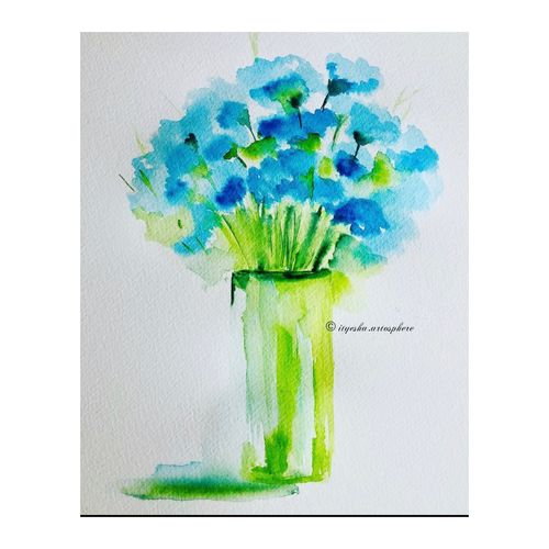 flower vase, 8 x 12 inch, ityesha mehta,8x12inch,canson paper,paintings,flower paintings,modern art paintings,conceptual paintings,nature paintings | scenery paintings,abstract expressionism paintings,paintings for dining room,paintings for living room,paintings for bedroom,paintings for office,paintings for bathroom,paintings for kids room,paintings for hotel,paintings for kitchen,paintings for school,paintings for hospital,watercolor,GAL02789039461