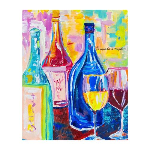 wine bottles , 8 x 12 inch, ityesha mehta,8x12inch,canson paper,paintings,abstract paintings,modern art paintings,conceptual paintings,abstract expressionism paintings,expressionism paintings,illustration paintings,pop art paintings,paintings for dining room,paintings for living room,paintings for bedroom,paintings for office,paintings for hotel,acrylic color,GAL02789039462