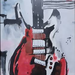abstact red gitar, 24 x 36 inch, saniya mohite,24x36inch,canvas,paintings,abstract paintings,modern art paintings,paintings for dining room,paintings for living room,paintings for bedroom,paintings for office,paintings for hotel,paintings for school,acrylic color,GAL02777939466