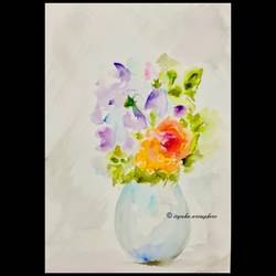 assorted flower vase , 8 x 12 inch, ityesha mehta,8x12inch,brustro watercolor paper,paintings,abstract paintings,flower paintings,modern art paintings,paintings for dining room,paintings for living room,paintings for bedroom,paintings for office,paintings for bathroom,paintings for kids room,paintings for hotel,paintings for kitchen,paintings for school,paintings for hospital,watercolor,GAL02789039474