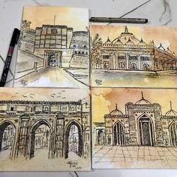 ahmedabad heritage city 2, 8 x 6 inch, mrinal  dutt,8x6inch,canvas,paintings,cityscape paintings,paintings for dining room,paintings for living room,paintings for bedroom,paintings for office,paintings for bathroom,paintings for kids room,paintings for hotel,paintings for kitchen,paintings for school,paintings for hospital,acrylic color,ink color,mixed media,GAL01311739479