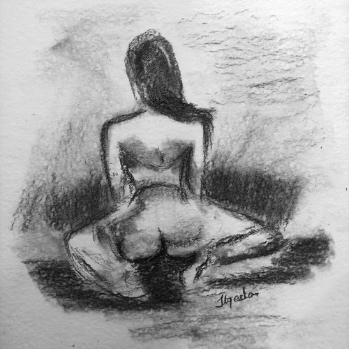 the back, 8 x 12 inch, ityesha mehta,8x12inch,canson paper,drawings,figurative drawings,fine art drawings,modern drawings,portrait drawings,paintings for bedroom,paintings for bathroom,paintings for hotel,graphite pencil,GAL02789039490