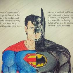 batman v superman, 8 x 12 inch, sanjith acharya,8x12inch,canvas,paintings,figurative paintings,conceptual paintings,pastel color,pencil color,ball point pen,paper,GAL02782039491