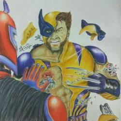 wolverine destruction, 8 x 8 inch, sanjith acharya,8x8inch,canvas,paintings,figurative paintings,conceptual paintings,paintings for bedroom,paintings for bedroom,pastel color,pencil color,ball point pen,paper,GAL02782039493