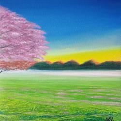 pink tree, 9 x 19 inch,  nil rabha,9x19inch,canvas,paintings,landscape paintings,paintings for living room,oil color,GAL02231239496