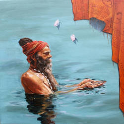 sadau in river ganga , 24 x 30 inch, satyabrata karmakar,figurative paintings,paintings for dining room,canvas,acrylic color,24x30inch,GAL0168395
