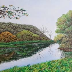 forest by the lake, 12 x 12 inch, sudarshan goswami,12x12inch,hardboard,paintings,landscape paintings,paintings for living room,acrylic color,GAL02619239505