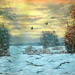 winter sunset, 14 x 12 inch, sudarshan goswami,14x12inch,hardboard,paintings,landscape paintings,paintings for living room,acrylic color,GAL02619239506