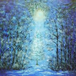 magical snowfall in moonlit night, 16 x 12 inch, sudarshan goswami,16x12inch,hardboard,paintings,landscape paintings,paintings for living room,acrylic color,GAL02619239507