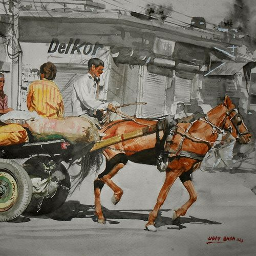 horse cart, 17 x 13 inch, uday bhan  singh,street art,paintings for living room,horse paintings,canson paper,watercolor,17x13inch,GAL014333951