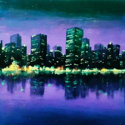 city silhouette, 12 x 12 inch, sudarshan goswami,12x12inch,hardboard,paintings,landscape paintings,paintings for living room,acrylic color,GAL02619239510