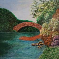 an old bridge, 12 x 12 inch, sudarshan goswami,12x12inch,hardboard,paintings,landscape paintings,paintings for living room,acrylic color,GAL02619239511
