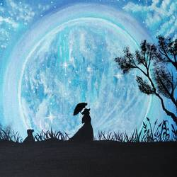 girl in moonlight painting, 10 x 12 inch, veena nandavaram,10x12inch,canvas board,paintings,landscape paintings,nature paintings   scenery paintings,art deco paintings,paintings for dining room,paintings for living room,paintings for bedroom,paintings for kids room,paintings for hotel,paintings for kitchen,paintings for school,paintings for hospital,acrylic color,GAL02687039514