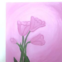 pink tulips, 8 x 12 inch, ruchi verma,8x12inch,canvas,paintings,flower paintings,still life paintings,nature paintings | scenery paintings,paintings for bedroom,paintings for kids room,acrylic color,GAL02794539516
