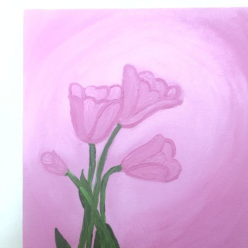 pink tulips, 8 x 12 inch, ruchi verma,8x12inch,canvas,paintings,flower paintings,still life paintings,nature paintings   scenery paintings,paintings for bedroom,paintings for kids room,acrylic color,GAL02794539516