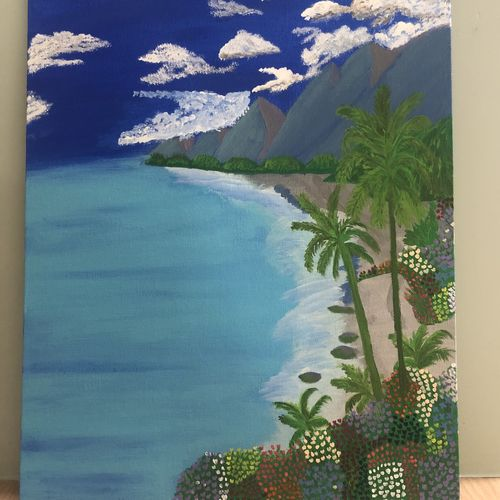 seaside beauty, 12 x 16 inch, ruchi verma,12x16inch,canvas,nature paintings | scenery paintings,paintings for living room,paintings for bedroom,paintings for kids room,paintings for living room,paintings for bedroom,paintings for kids room,acrylic color,GAL02794539517