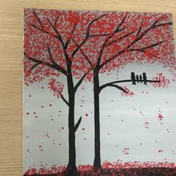 birds on cherry blossom, 12 x 16 inch, ruchi verma,12x16inch,canvas,paintings,nature paintings   scenery paintings,paintings for living room,paintings for bedroom,paintings for kids room,acrylic color,GAL02794539518