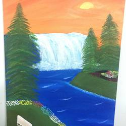 waterfall view, 12 x 16 inch, ruchi verma,12x16inch,canvas,paintings,nature paintings | scenery paintings,paintings for living room,paintings for bedroom,paintings for office,paintings for kids room,acrylic color,GAL02794539519