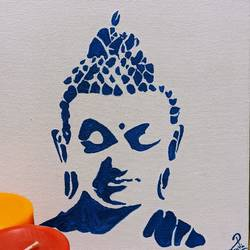 calming buddha, 8 x 12 inch, ruchi verma,8x12inch,canvas,paintings,buddha paintings,paintings for dining room,paintings for living room,paintings for bedroom,paintings for office,acrylic color,GAL02794539520