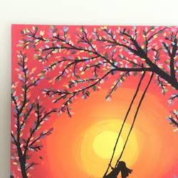girl on swing, 12 x 16 inch, ruchi verma,12x16inch,canvas,paintings,figurative paintings,nature paintings | scenery paintings,paintings for living room,paintings for bedroom,paintings for kids room,acrylic color,GAL02794539523