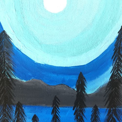 moonlight on trees, 12 x 16 inch, ruchi verma,12x16inch,canvas,paintings,landscape paintings,nature paintings   scenery paintings,paintings for living room,paintings for bedroom,paintings for kids room,acrylic color,GAL02794539529