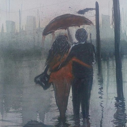 love couple, 8 x 12 inch, satyabrata parhi,paintings for bedroom,figurative paintings,thick paper,watercolor,8x12inch,GAL011633953