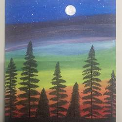 full moon night, 12 x 16 inch, ruchi verma,12x16inch,canvas,paintings,landscape paintings,nature paintings | scenery paintings,paintings for living room,paintings for bedroom,paintings for office,paintings for kids room,acrylic color,GAL02794539530