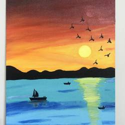 boating in a lake, 12 x 16 inch, ruchi verma,12x16inch,canvas,paintings,landscape paintings,nature paintings | scenery paintings,paintings for dining room,paintings for living room,paintings for bedroom,paintings for office,paintings for kids room,acrylic color,GAL02794539531