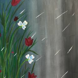 raindrops on flower, 12 x 16 inch, ruchi verma,12x16inch,canvas,paintings,modern art paintings,contemporary paintings,paintings for living room,paintings for bedroom,paintings for kids room,acrylic color,GAL02794539532