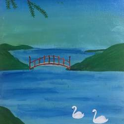 twin swana, 12 x 16 inch, ruchi verma,12x16inch,canvas,paintings,landscape paintings,nature paintings | scenery paintings,paintings for living room,paintings for bedroom,paintings for kids room,acrylic color,GAL02794539533
