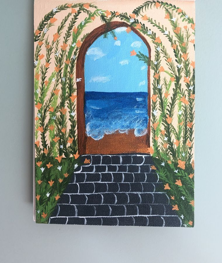 through the door, 8 x 12 inch, ruchi verma,8x12inch,canvas,paintings,landscape paintings,nature paintings | scenery paintings,paintings for living room,paintings for bedroom,acrylic color,GAL02794539534