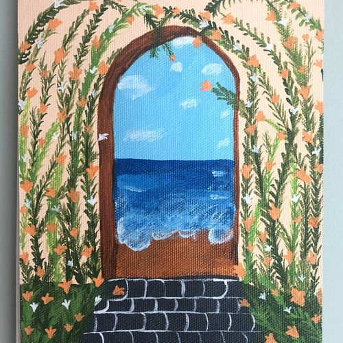 through the door, 8 x 12 inch, ruchi verma,8x12inch,canvas,paintings,landscape paintings,nature paintings   scenery paintings,paintings for living room,paintings for bedroom,acrylic color,GAL02794539534