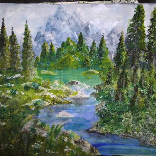 mountain and river in nature , 11 x 14 inch, pinki saha,11x14inch,drawing paper,paintings,landscape paintings,nature paintings | scenery paintings,acrylic color,paper,GAL02786539535