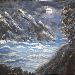 sea in moonlight, 11 x 14 inch, pinki saha,11x14inch,drawing paper,paintings,landscape paintings,nature paintings | scenery paintings,acrylic color,paper,GAL02786539536