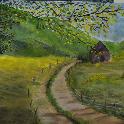 cabin in the mountains, 11 x 14 inch, pinki saha,11x14inch,drawing paper,paintings,landscape paintings,nature paintings | scenery paintings,acrylic color,paper,GAL02786539539
